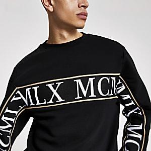 Schwarzes Slim Fit Sweatshirt mit MCMLX-Band
