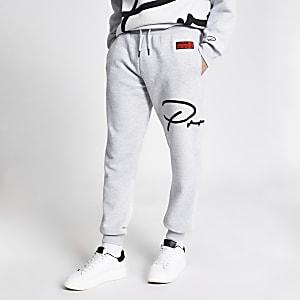 Prolific – Graue Slim Fit Jogginghose mit Print