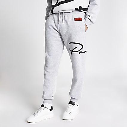 Prolific grey printed slim fit joggers