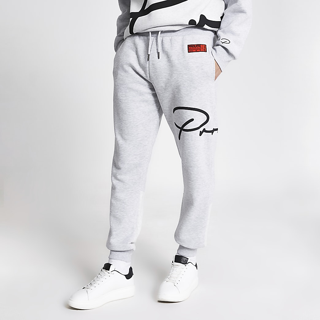 Prolific grey printed slim fit joggers