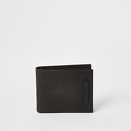 Brown leather fold out wallet