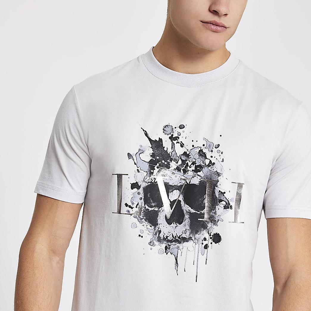 Grey 'LVII' print slim fit T-shirt