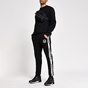 Hype black speckle tape side joggers
