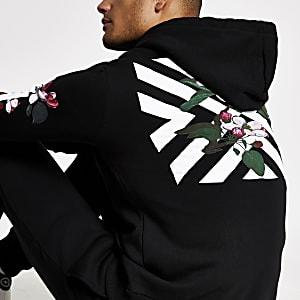 Hype – Schwarzer Hoodie mit Chevron- und Blumen-Print