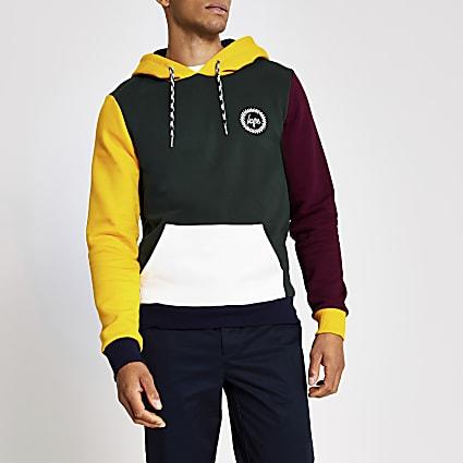 Hype green colour block hoodie