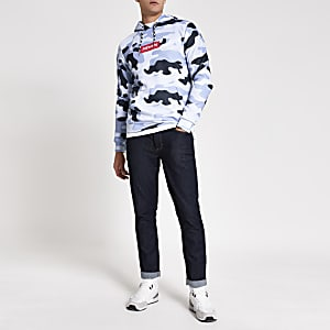 Hype – Sweat à capuche ample bleu camouflage