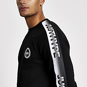 Hype - Zwarte sweater met lange mouwen met tape bies