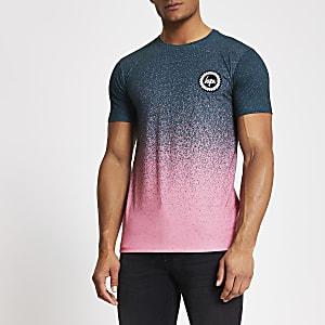 Hype – Gesprenkeltes, ombriertes T-Shirt in Grün