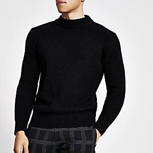 Zwarte slim-fit gebreide trui met wafeldessin