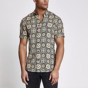 Zwart slim-fit overhemd met geoprint