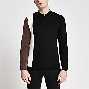Schwarzes Slim Fit Polohemd aus Strick in Blockfarben