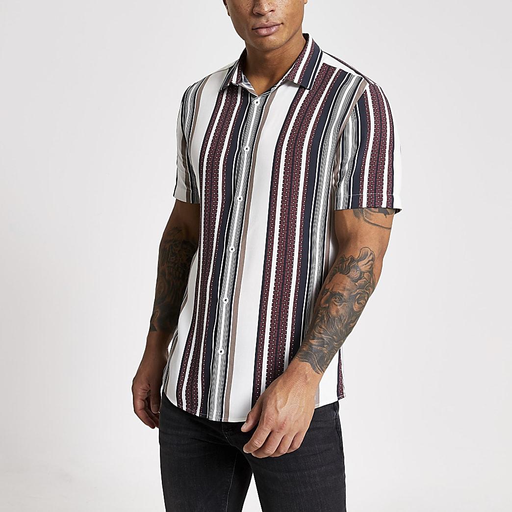 White stripe short sleeve slim fit shirt
