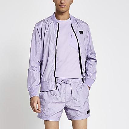 Pastel Tech purple tape side swim shorts