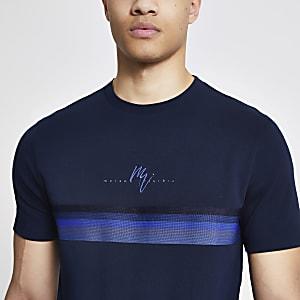 Maison Riviera - Marineblauw slim-fit T-shirt met bies