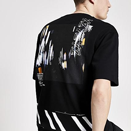 Black reverse printed boxy fit T-shirt