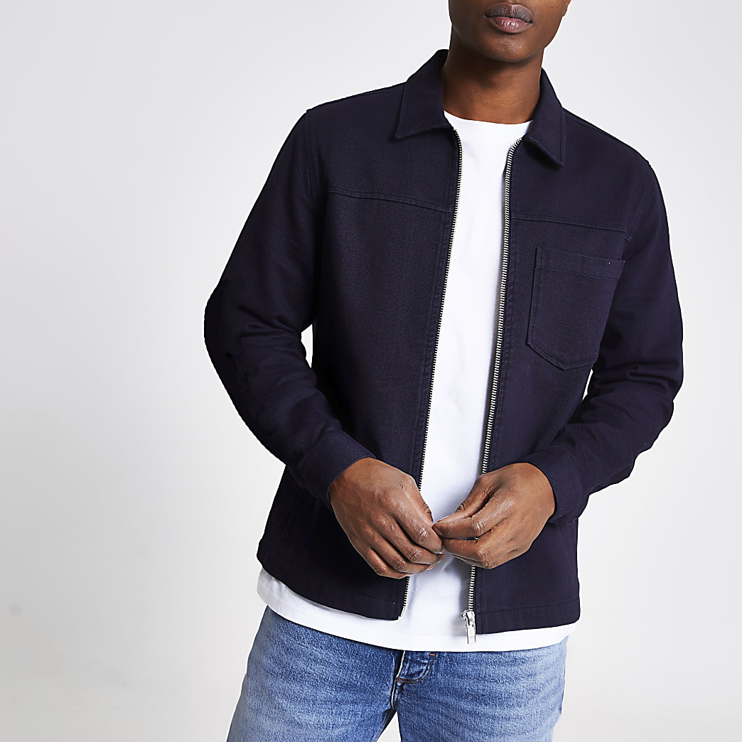 Navy long sleeve zip front overshirt