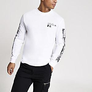 Weißes, langärmeliges Slim Fit T-Shirt mit Print