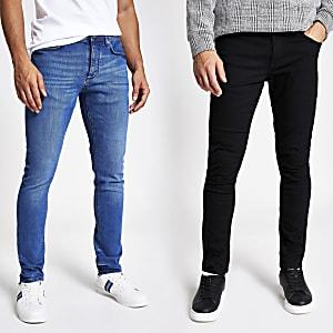 Zwarte en blauwe skinny denim jeans set van 2