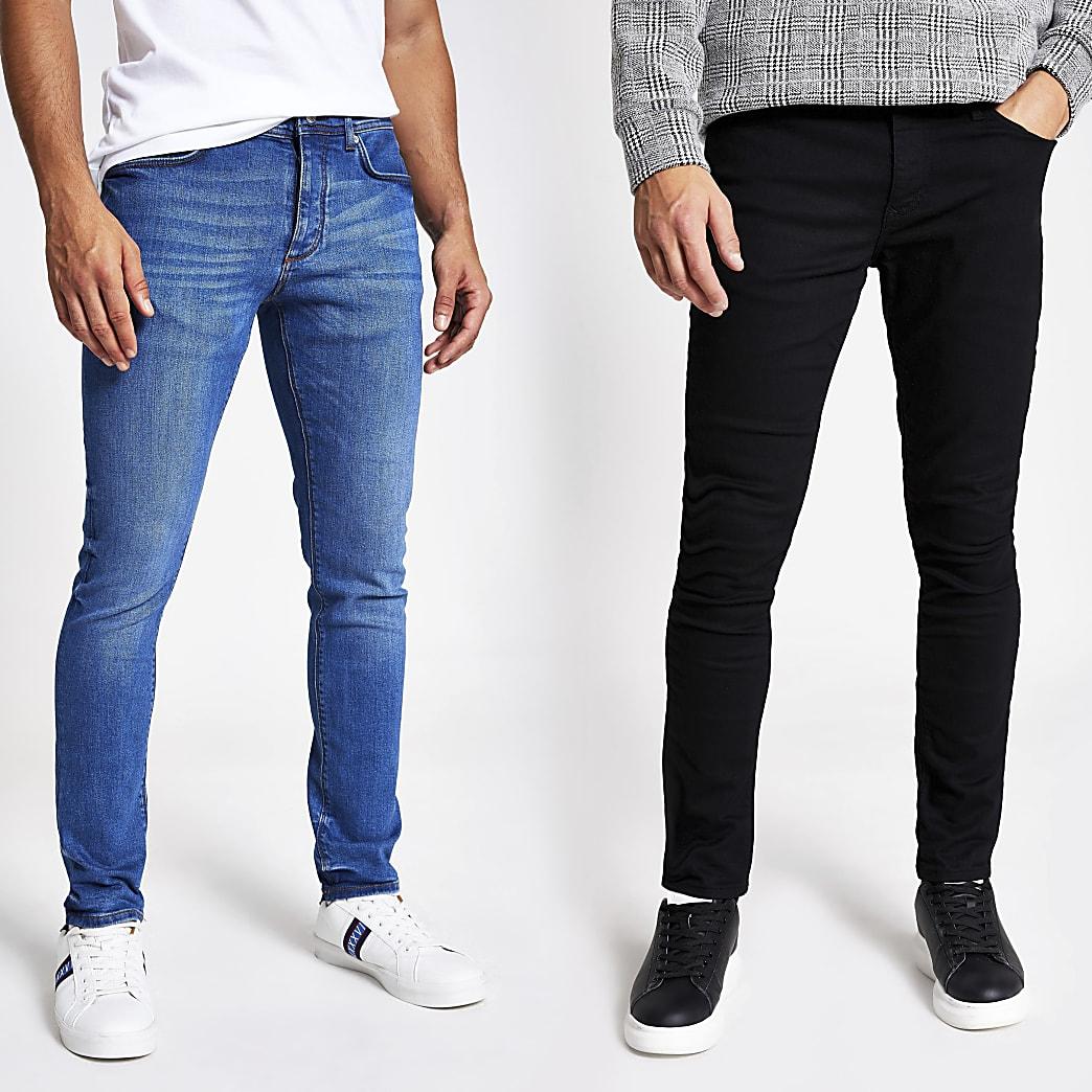 Lot de2 jeans skinny en denim bleu et noir