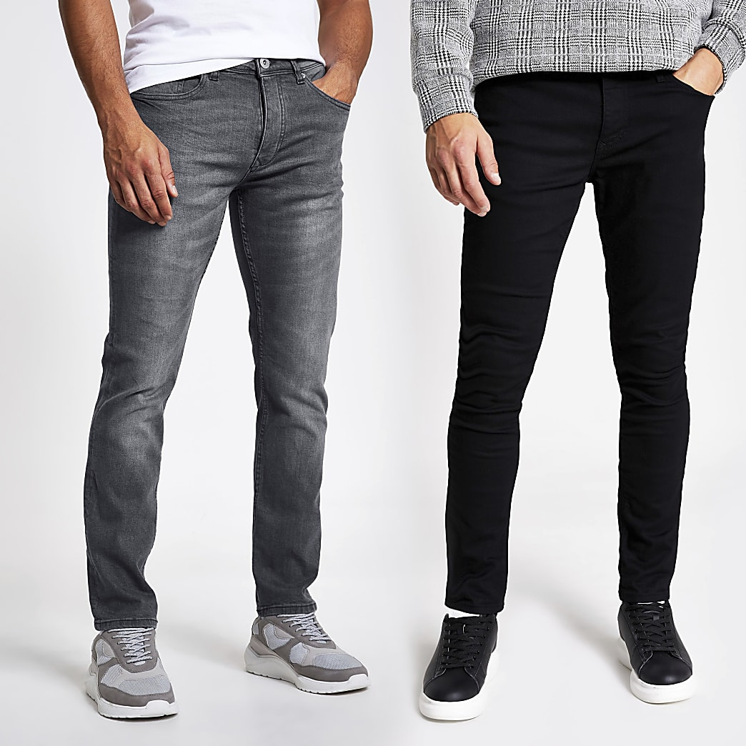 Black and grey skinny jeans 2 pack