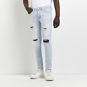 Slim Fit Jeans in Schwarz und Blau, 2er-Set
