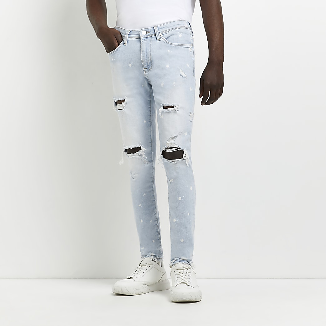 Lot de 2 jeans slim en denim noir et bleu