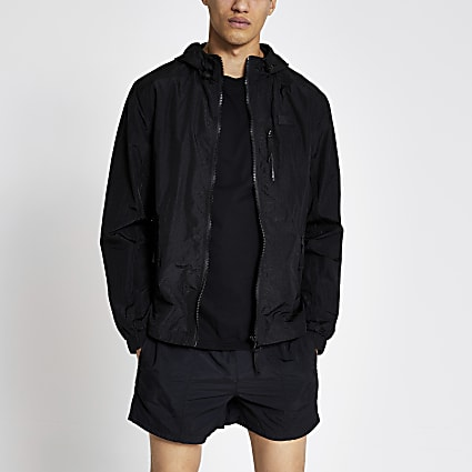 Pastel Tech black nylon hooded jacket