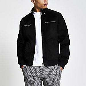 Black suedette long sleeve racer jacket