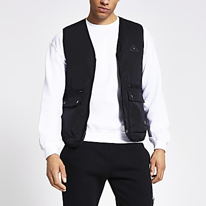 MCMLX black nylon gilet jacket