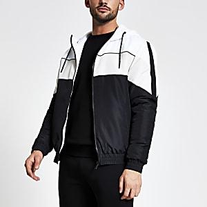 MCMLX - Zwart jack met capuchon en kleurvlakken