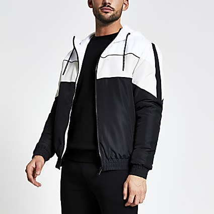 MCMLX black colour blocked hooded jacket