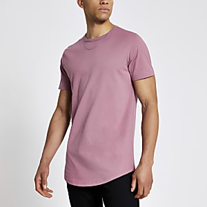 Pink longline slim fit T-shirt