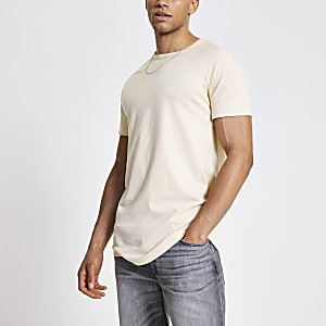 Lang geschnittenes Slim Fit T-Shirt in Ecru