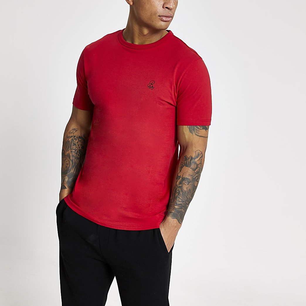 R96 red slim fit short sleeve T-shirt