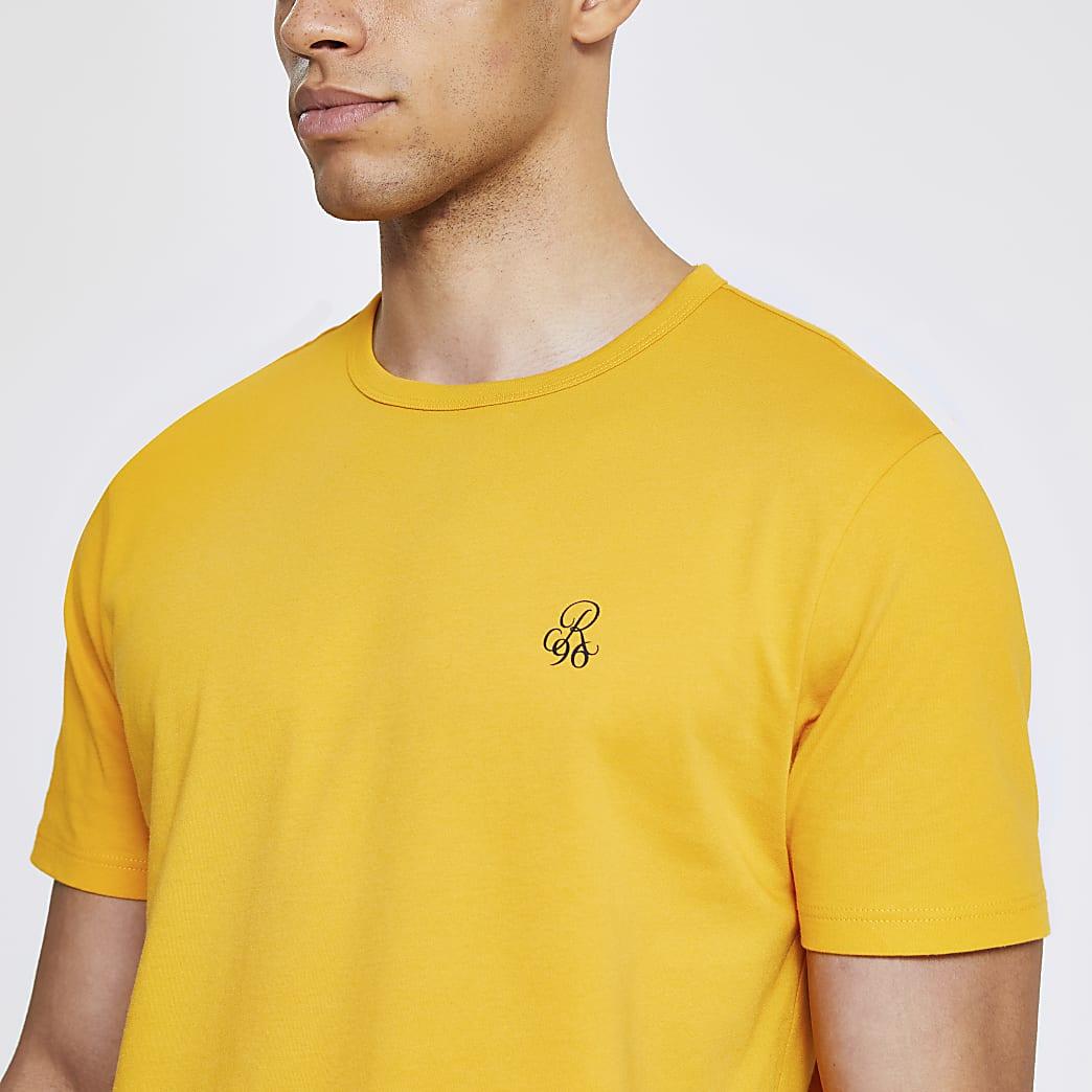 T-shirt slim R96 jauneà manches courtes