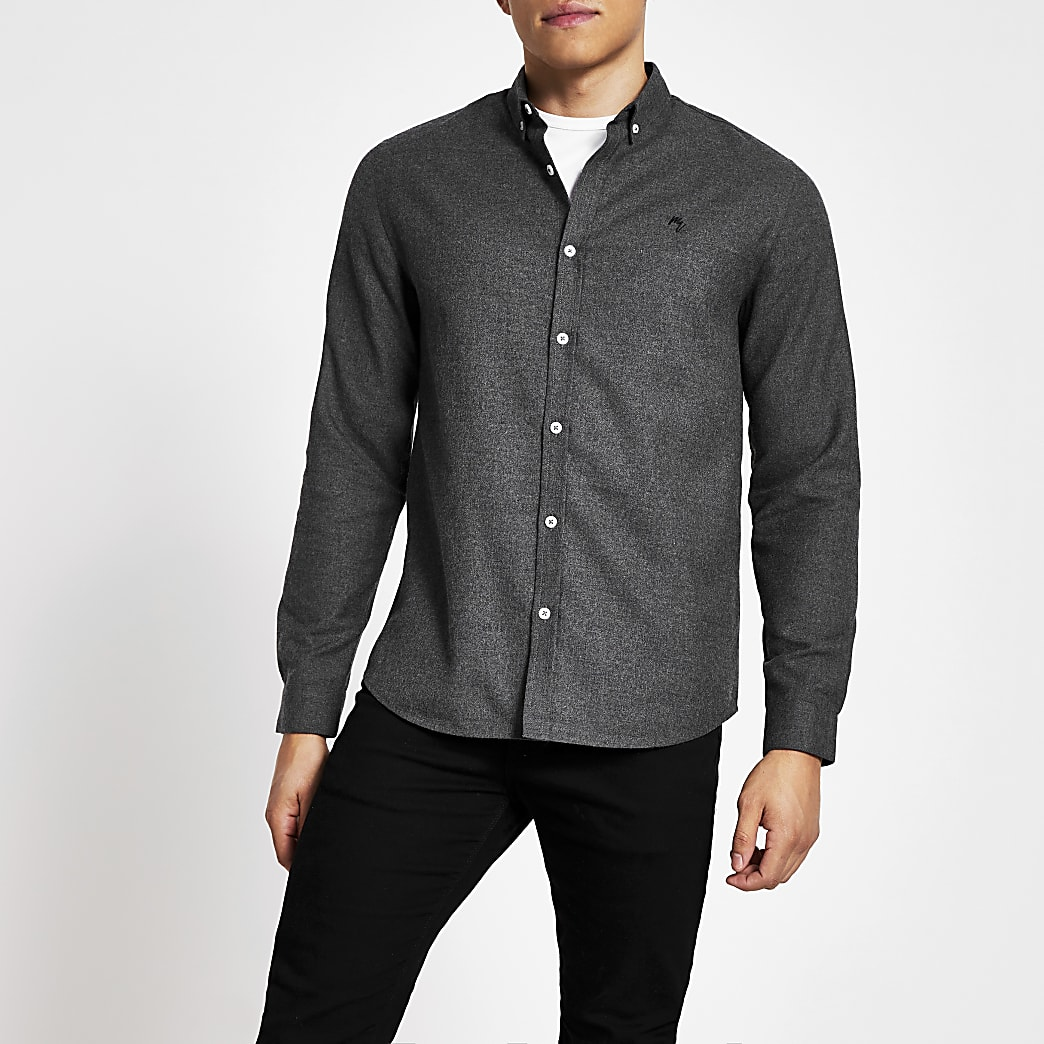 Maison Riviera grey textured slim fit shirt