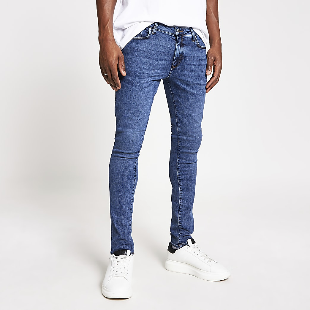 Danny - Blauwe superskinny stretch jeans
