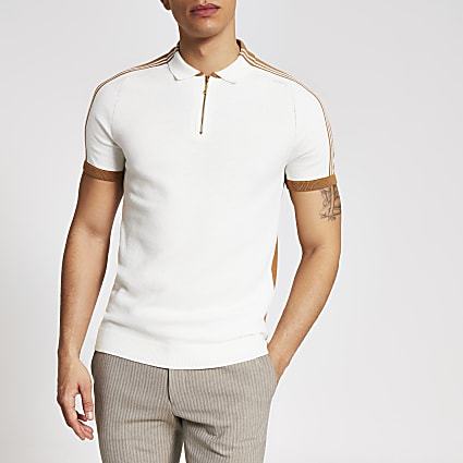 Ecru tape slim half zip knitted polo shirt