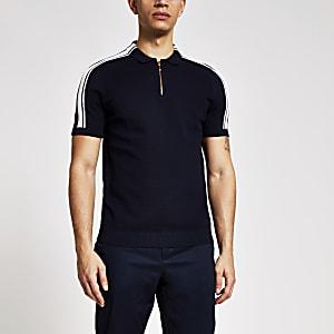 Marineblaues Slim Fit Poloshirt aus Strick mit Kurzreißverschluss und Tape