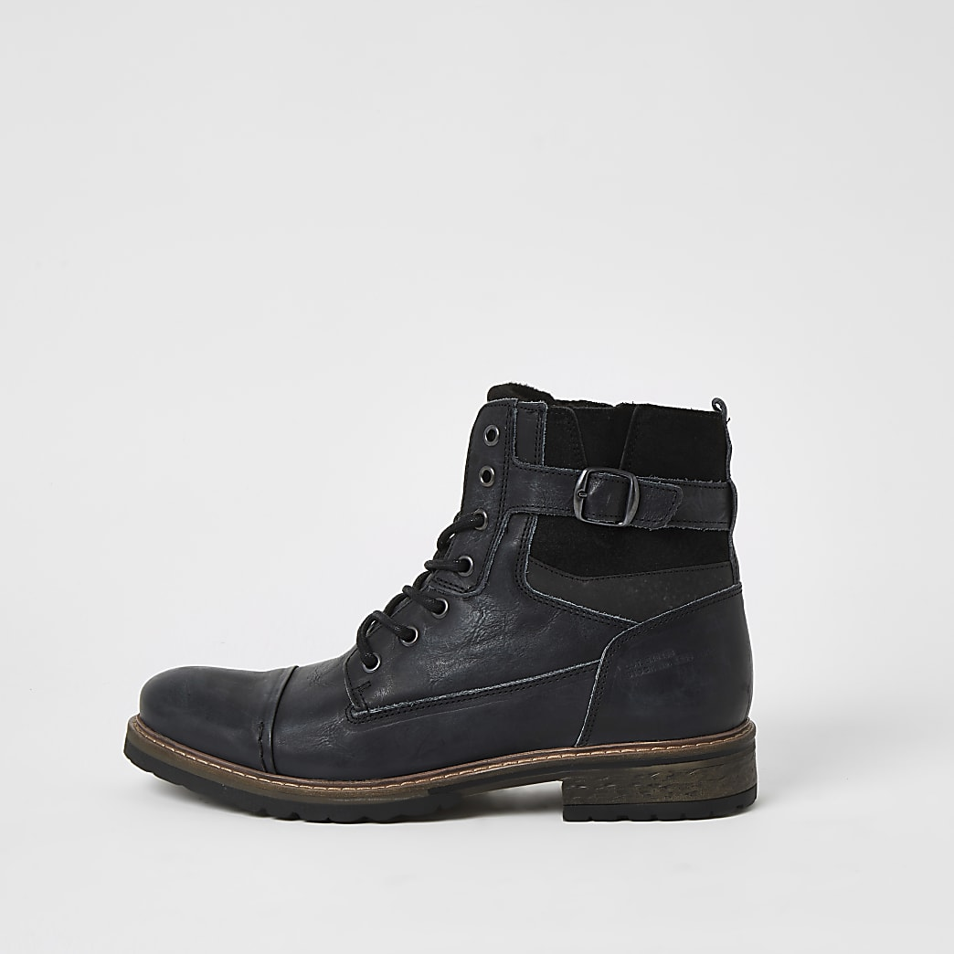 Dark grey leather lace-up buckle boots