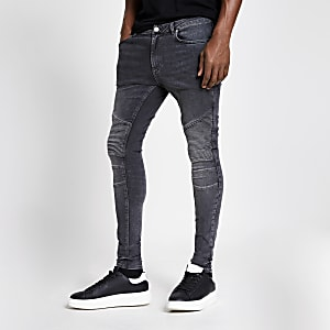 Grijze spray-on skinny bikerjeans