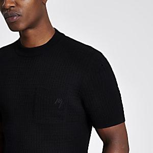 Maison Riviera – T-shirt noir en maille à poche