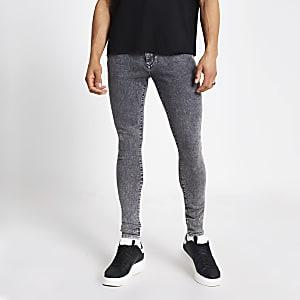 Ollie – Schwarze Skinny Jeans mit Acid-Waschung