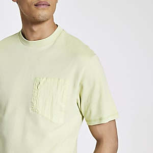 Pastel Tech - Groen nylon T-shirt met zak