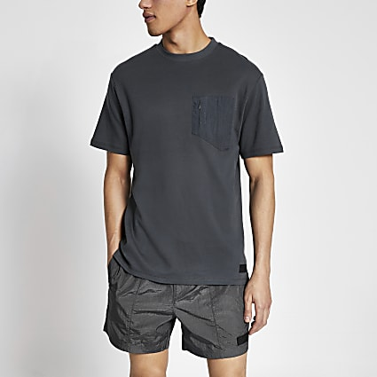 Pastel Tech grey nylon pocket T-shirt