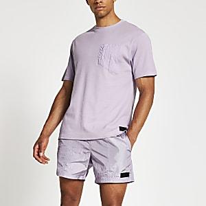 Pastel Tech - Paars nylon T-shirt met borstzakje