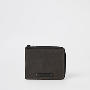 Portefeuille en cuir marron zippé