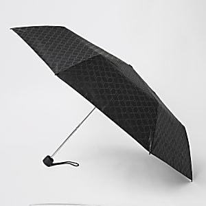 Schwarzer Regenschirm mit RI-Monogramm