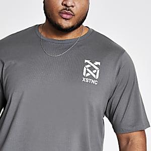 Big & Tall– Graues, bedrucktes T-Shirt