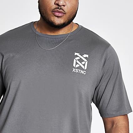 Big and Tall grey printed T-shirt